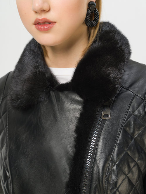 Кожаная куртка артикул 18809300/42 - фото 4