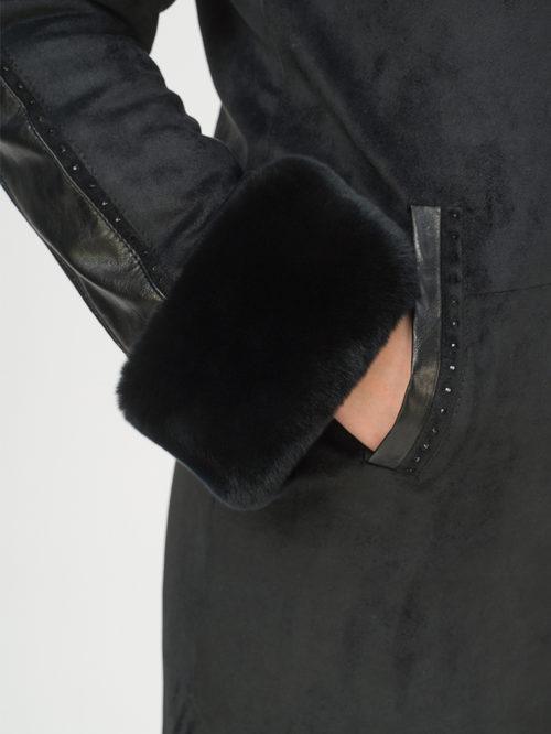 Кожаное пальто артикул 18809308/48 - фото 4
