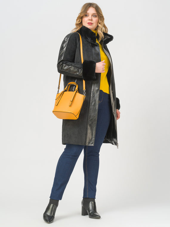 Кожаное пальто эко-замша 100% П/А, цвет черный, арт. 18809308  - цена 11990 руб.  - магазин TOTOGROUP