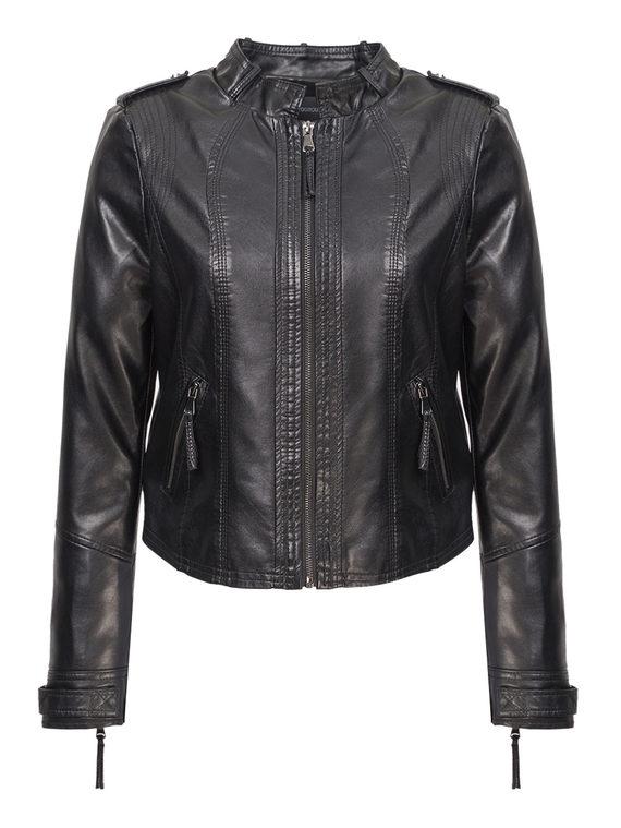 Кожаная куртка эко-кожа 100% П/А, цвет черный, арт. 18809893  - цена 3790 руб.  - магазин TOTOGROUP