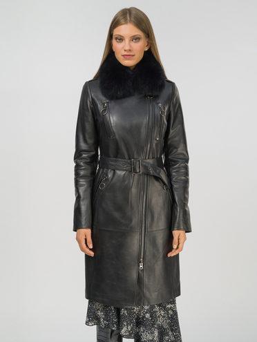 Кожаное пальто кожа, цвет черный, арт. 18809918  - цена 17990 руб.  - магазин TOTOGROUP