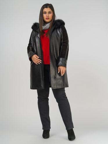 Кожаное пальто кожа, цвет черный, арт. 18809919  - цена 16990 руб.  - магазин TOTOGROUP