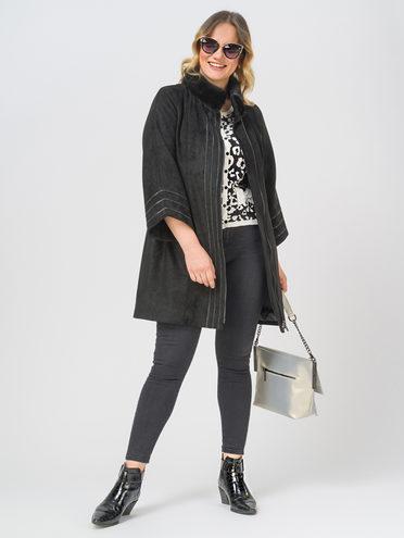 Кожаное пальто эко-замша 100% П/А, цвет черный, арт. 18810026  - цена 13390 руб.  - магазин TOTOGROUP