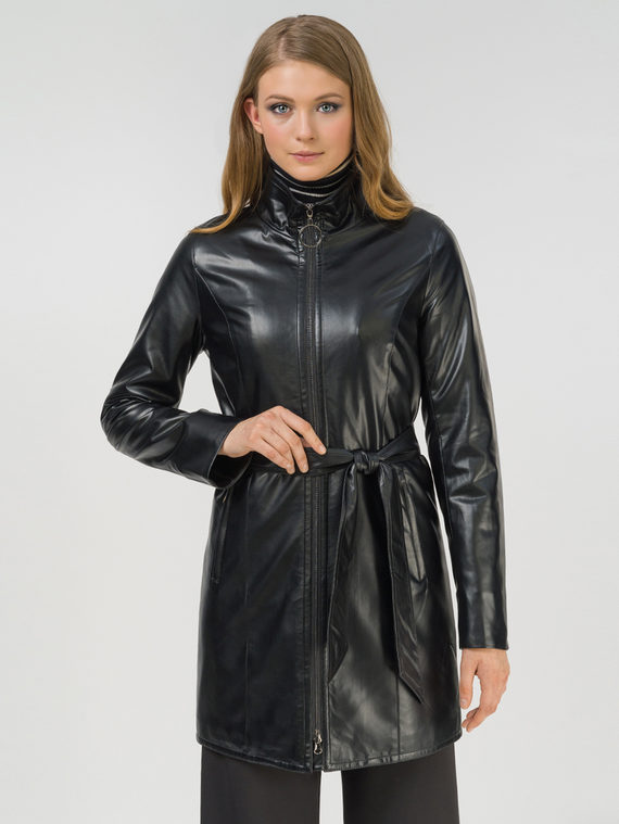 Кожаное пальто эко-кожа 100% П/А, цвет черный, арт. 18810038  - цена 3990 руб.  - магазин TOTOGROUP