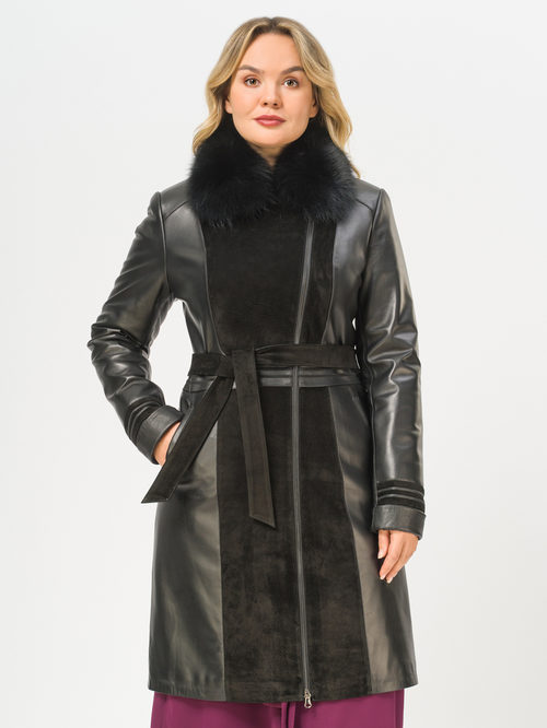 Кожаное пальто артикул 18810049/46 - фото 2