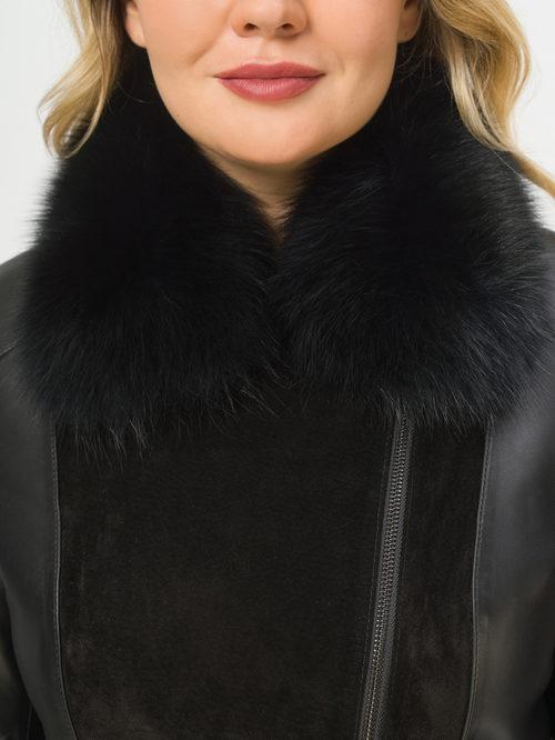 Кожаное пальто артикул 18810049/46 - фото 4
