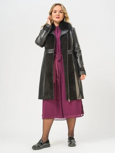 Кожаное пальто кожа, цвет черный, арт. 18810049  - цена 16990 руб.  - магазин TOTOGROUP
