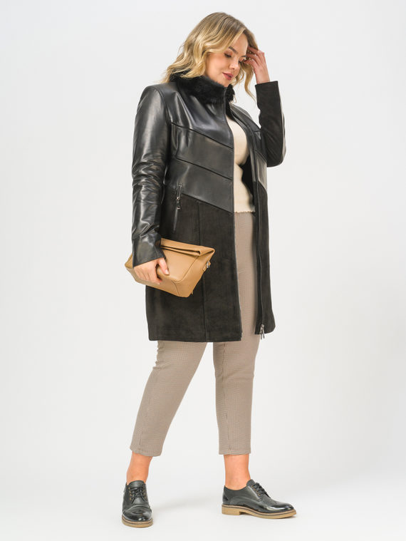 Кожаное пальто кожа, цвет черный, арт. 18810050  - цена 19990 руб.  - магазин TOTOGROUP
