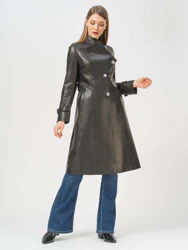 Кожаное пальто кожа, цвет черный, арт. 18810064  - цена 16990 руб.  - магазин TOTOGROUP