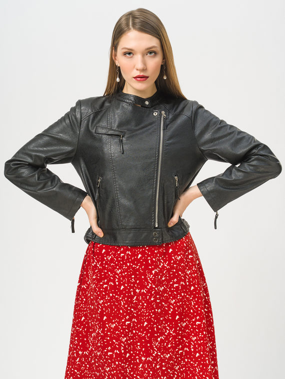 Кожаная куртка эко-кожа 100% П/А, цвет черный, арт. 18810080  - цена 4490 руб.  - магазин TOTOGROUP