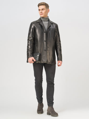 Кожаная куртка кожа, цвет черный, арт. 18810172  - цена 21290 руб.  - магазин TOTOGROUP