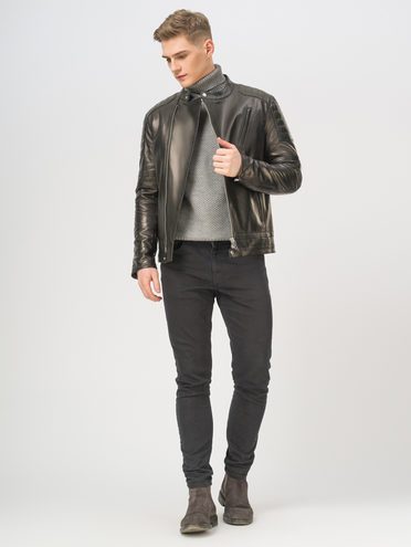 Кожаная куртка кожа, цвет черный, арт. 18810174  - цена 16990 руб.  - магазин TOTOGROUP
