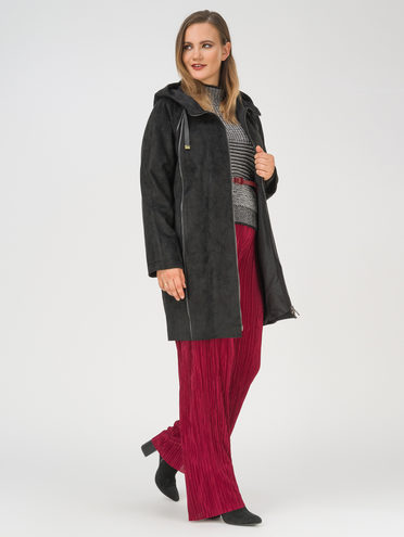 Кожаное пальто эко-замша 100% П/А, цвет черный, арт. 18810201  - цена 11990 руб.  - магазин TOTOGROUP