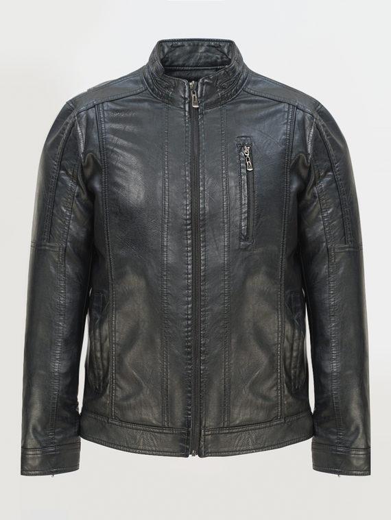 Кожаная куртка эко-кожа 100% П/А, цвет черный, арт. 18810205  - цена 3790 руб.  - магазин TOTOGROUP