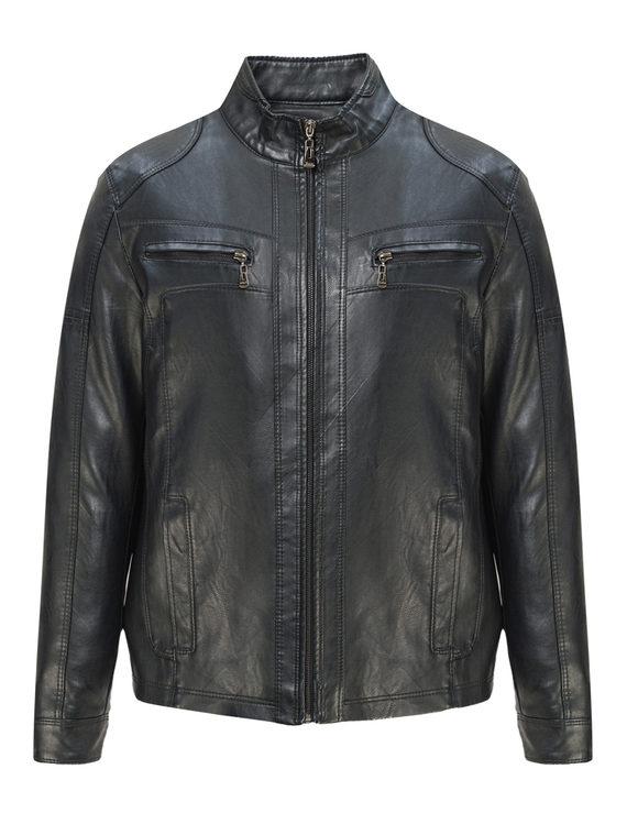 Кожаная куртка эко-кожа 100% П/А, цвет черный, арт. 18810208  - цена 3990 руб.  - магазин TOTOGROUP