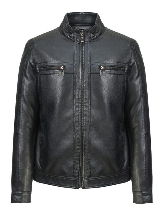 Кожаная куртка эко-кожа 100% П/А, цвет черный, арт. 18810209  - цена 3590 руб.  - магазин TOTOGROUP