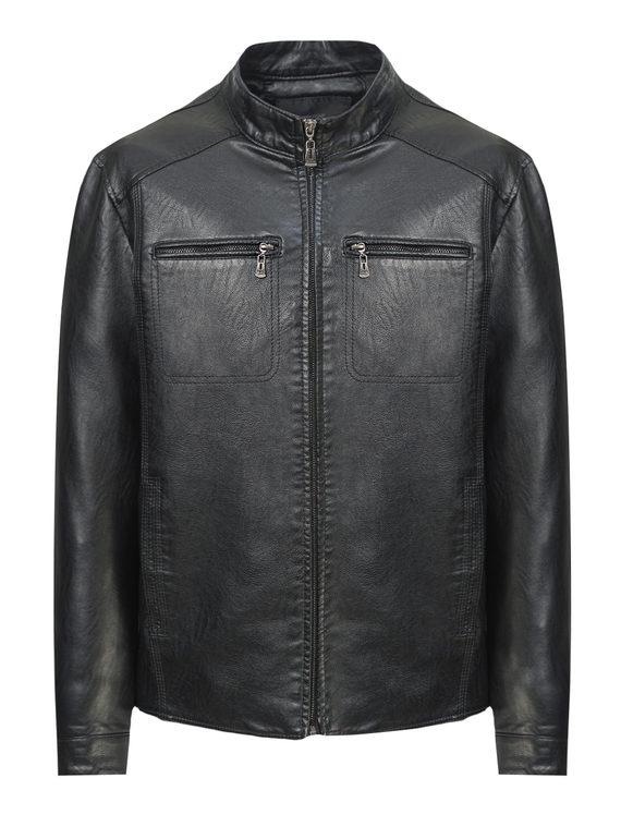 Кожаная куртка эко-кожа 100% П/А, цвет черный, арт. 18810213  - цена 3790 руб.  - магазин TOTOGROUP