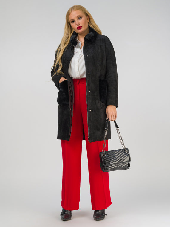 Кожаное пальто эко-замша 100% П/А, цвет черный, арт. 18810215  - цена 12690 руб.  - магазин TOTOGROUP