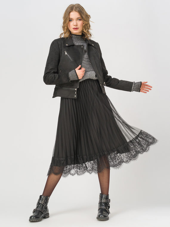 Кожаная куртка эко-замша 100% П/А, цвет черный, арт. 18810219  - цена 2990 руб.  - магазин TOTOGROUP