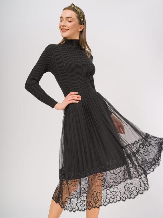 Платье 65%вискоза,35%нейлон, цвет черный, арт. 18810362  - цена 1850 руб.  - магазин TOTOGROUP