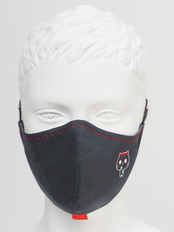 Защитная маска с котиком 3 шт. текстиль, цвет черный, арт. 18810535  - цена 390 руб.  - магазин TOTOGROUP