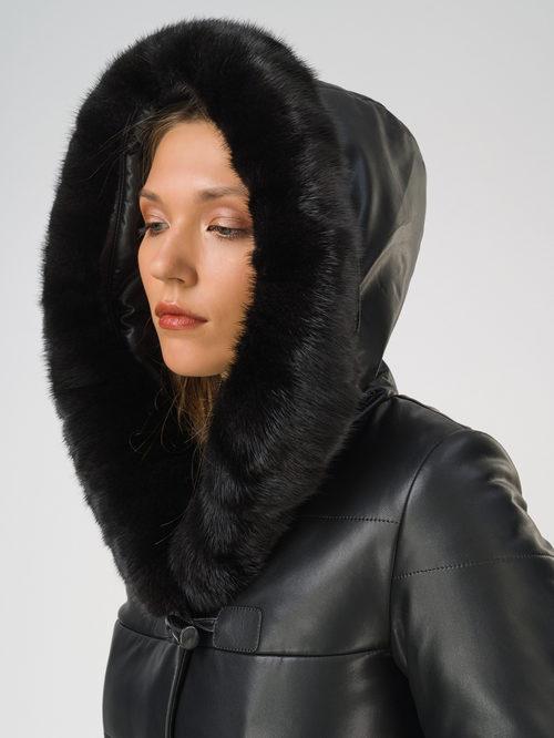 Кожаное пальто артикул 18810768/44 - фото 3