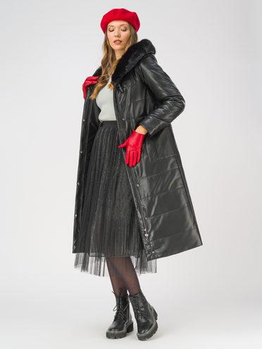 Кожаное пальто эко-кожа 100% П/А, цвет черный, арт. 18810768  - цена 13390 руб.  - магазин TOTOGROUP