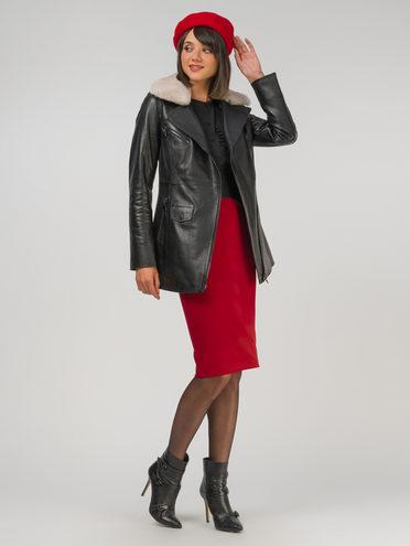 Кожаная куртка кожа, цвет черный, арт. 18810771  - цена 28490 руб.  - магазин TOTOGROUP