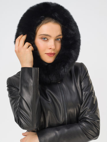 Кожаное пальто кожа, цвет черный, арт. 18810773  - цена 23990 руб.  - магазин TOTOGROUP
