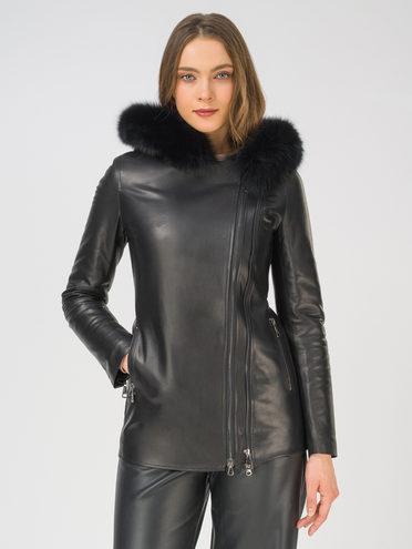 Кожаная куртка кожа, цвет черный, арт. 18810775  - цена 23990 руб.  - магазин TOTOGROUP