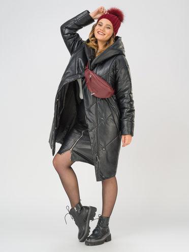 Кожаное пальто эко-кожа 100% П/А, цвет черный, арт. 18810778  - цена 11990 руб.  - магазин TOTOGROUP