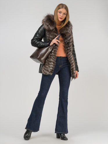 Кожаная куртка эко-кожа 100% П/А, цвет черный, арт. 18810791  - цена 22690 руб.  - магазин TOTOGROUP
