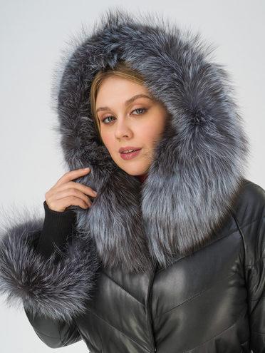 Кожаное пальто кожа, цвет черный, арт. 18810797  - цена 29990 руб.  - магазин TOTOGROUP