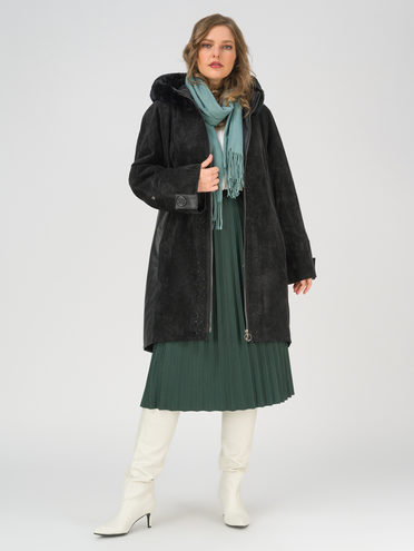 Кожаное пальто эко-замша 100% П/А, цвет черный, арт. 18810801  - цена 14990 руб.  - магазин TOTOGROUP