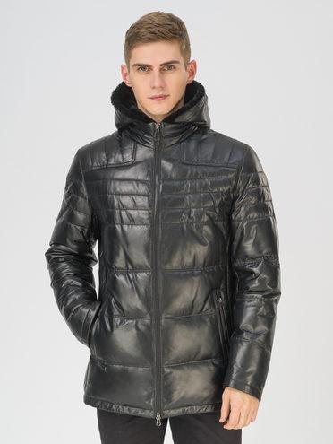 Кожаная куртка кожа, цвет черный, арт. 18810819  - цена 29990 руб.  - магазин TOTOGROUP