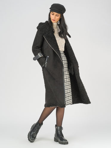 Дубленка эко-замша 100% П/А, цвет черный, арт. 18810851  - цена 10590 руб.  - магазин TOTOGROUP