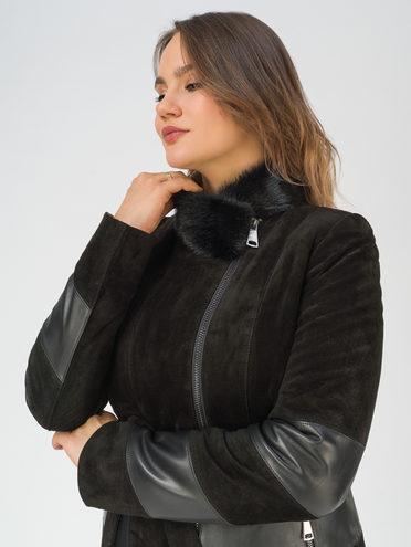 Кожаное пальто кожа замша, цвет черный, арт. 18810910  - цена 25590 руб.  - магазин TOTOGROUP