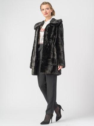 Шуба из норки мех норка крашеная, цвет черный, арт. 18900796  - цена 75990 руб.  - магазин TOTOGROUP