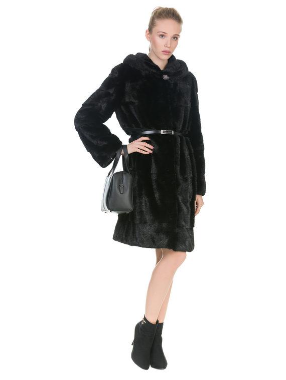Шуба из норки мех норка, цвет черный, арт. 18900829  - цена 67990 руб.  - магазин TOTOGROUP