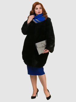 Шуба нутрия под бобра мех нутрия под бобра, цвет черный, арт. 18900891  - цена 47490 руб.  - магазин TOTOGROUP