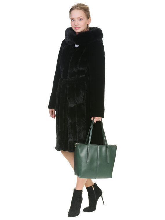 Шуба из мутона мех мутон, цвет черный, арт. 18900935  - цена 29990 руб.  - магазин TOTOGROUP