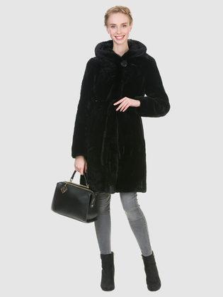 Шуба из мутона мех мутон, цвет черный, арт. 18900936  - цена 33990 руб.  - магазин TOTOGROUP