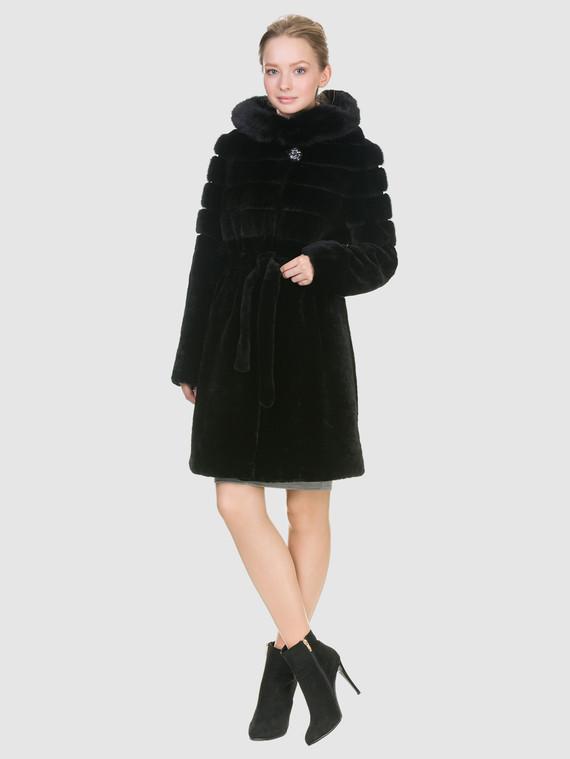 Шуба из мутона мех мутон, цвет черный, арт. 18900942  - цена 29990 руб.  - магазин TOTOGROUP