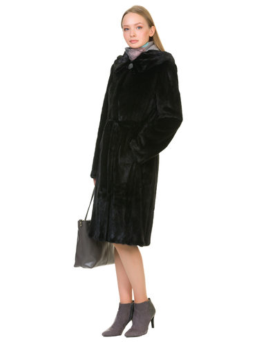 Шуба из норки мех норка, цвет черный, арт. 18901043  - цена 75990 руб.  - магазин TOTOGROUP