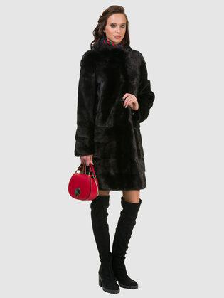 Шуба из норки мех норка крашеная, цвет черный, арт. 18901046  - цена 84990 руб.  - магазин TOTOGROUP