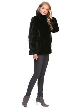 Шуба из норки мех норка крашеная, цвет черный, арт. 18901093  - цена 59990 руб.  - магазин TOTOGROUP