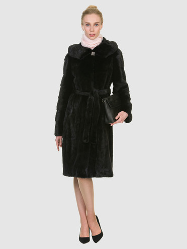 Шуба из норки мех норка, цвет черный, арт. 18901096  - цена 94990 руб.  - магазин TOTOGROUP