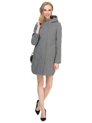 Текстильное пальто 30%шерсть, 70% п\а, цвет черный, арт. 18901145  - цена 6990 руб.  - магазин TOTOGROUP