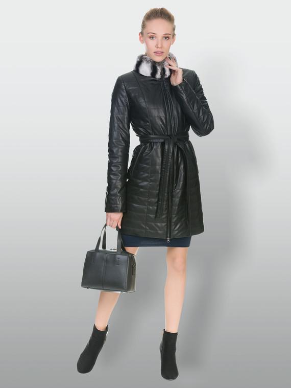 Кожаное пальто эко кожа 100% П/А, цвет черный, арт. 18902235  - цена 8490 руб.  - магазин TOTOGROUP