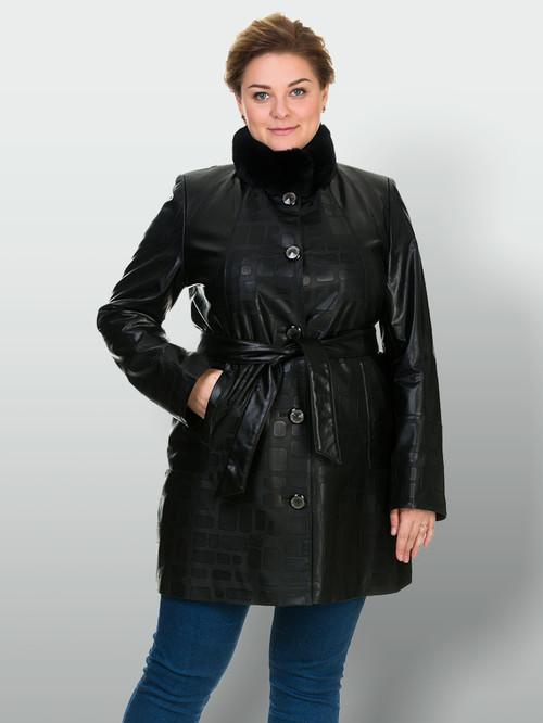 Кожаное пальто артикул 18902634/46 - фото 2